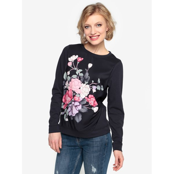 Bluza bleumarin cu print floral - Oasis Kimono