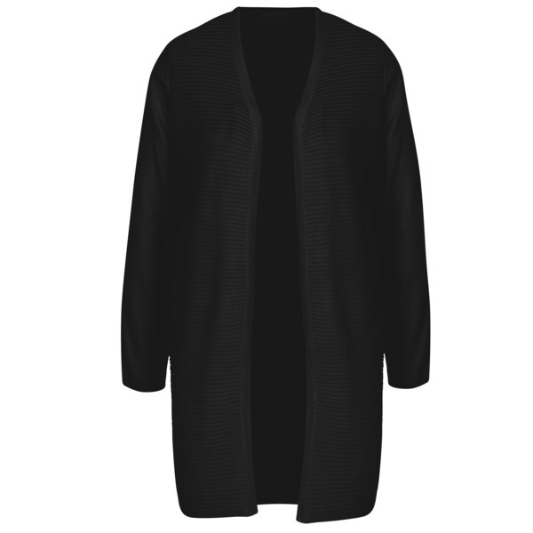 Cardigan lung negru cu dungi in relief Jacqueline de Yong Tint