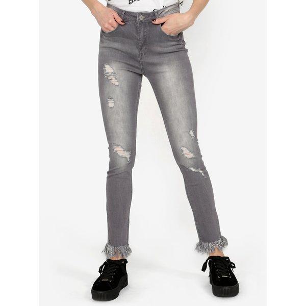 Jeansi gri skinny cu aspect decolorat si deteriorat MISSGUIDED