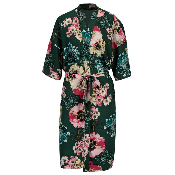 Kimono verde cu print floral ONLY Katehrine
