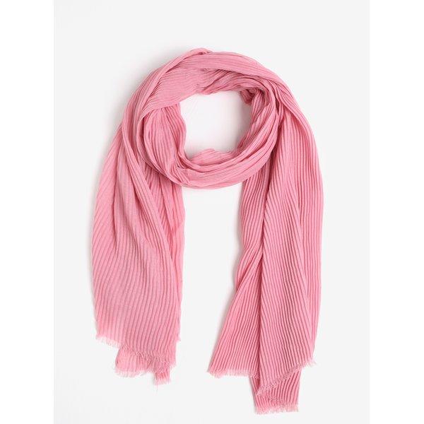 Esarfa plisata roz cu franjuri Pieces Nabia