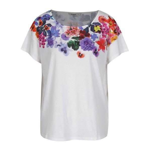 Tricou alb cu print floral Desigual Aglaia