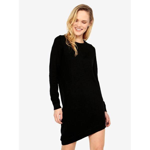 Rochie pulover asimetrica neagra cu buline - ONLY Alberte