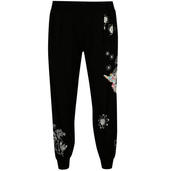 Pantaloni sport negri cu prin floral - Desigual Dina