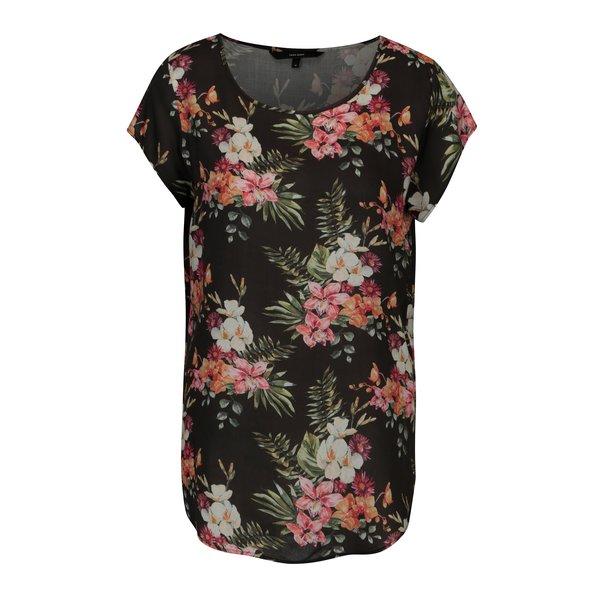 Bluza neagra cu model floral - VERO MODA Boca