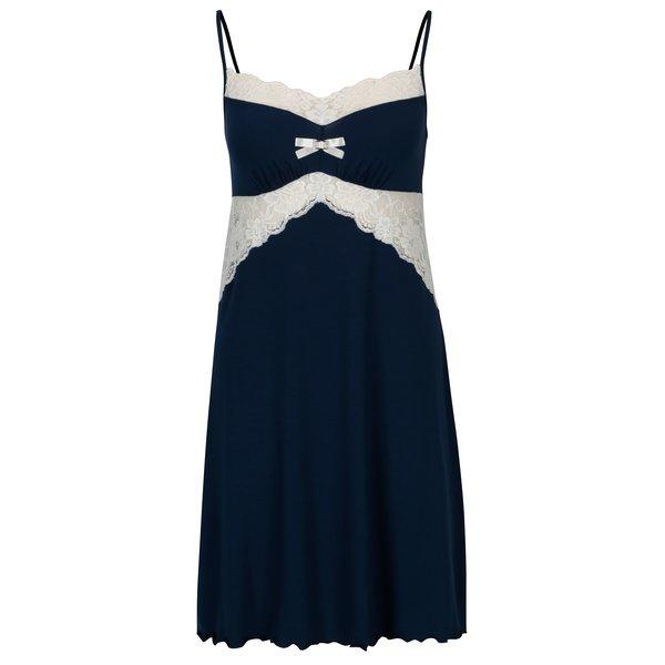 Camasa de noapte bleumarin cu detalii din dantela - Eldar Bona