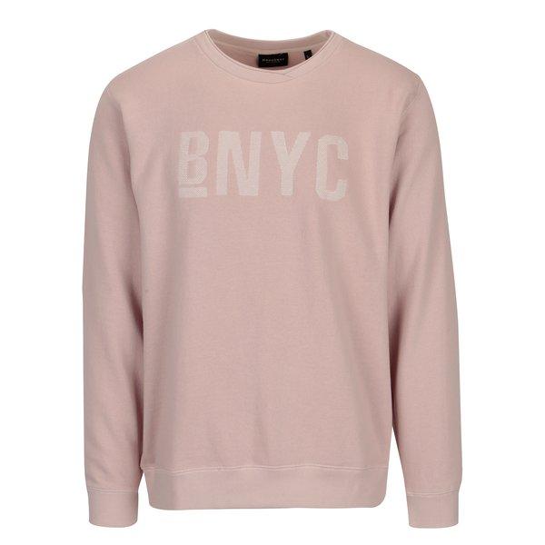 Bluza sport roz prafuit cu broderie text Broadway Hastle