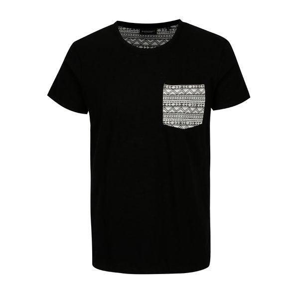 Tricou negru cu buzunar decorativ Broadway Gustafson