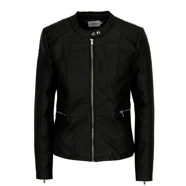 Jacheta neagra din piele sintetica ONLY Heart