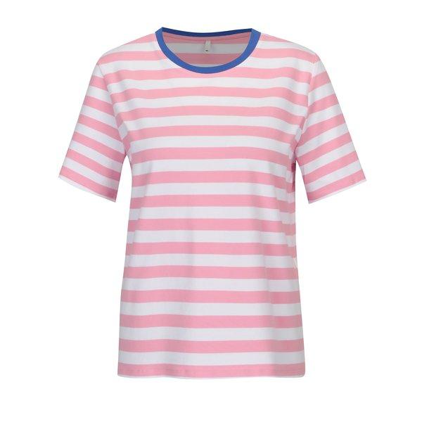 Tricou in dungi roz cu alb ONLY Live Love