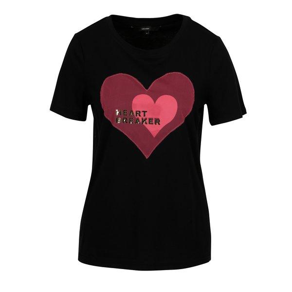 Tricou negru din bumbac cu mesaj - VERO MODA Jenny