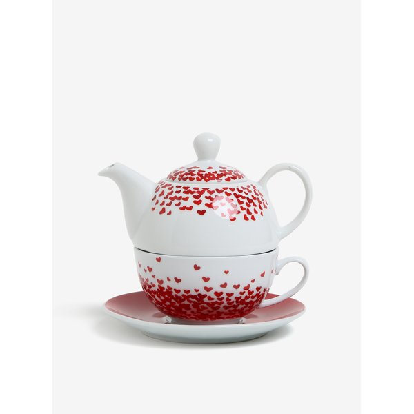 Set de ceainic si ceasca alb & rosu pentru ceai - Kaemingk