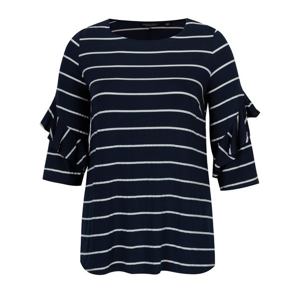 Bluza bleumarin cu dungi si volane la maneci -Dorothy Perkins Curve