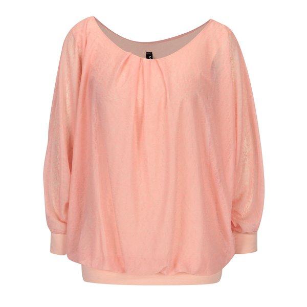 Bluza roz translucida cu maneci balon - Madonna