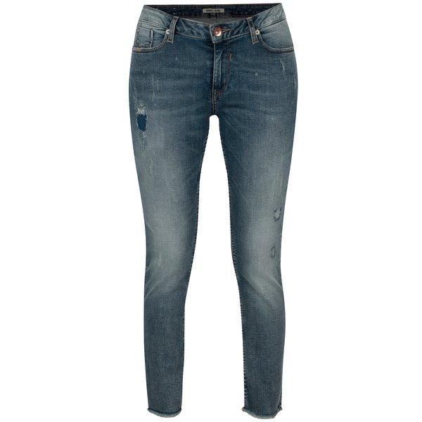 Blugi slim fit albastri cu terminatie nefinisata - Garcia Jeans