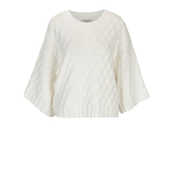 Pulover poncho alb cu model tricotat - Selected Femme Ivy