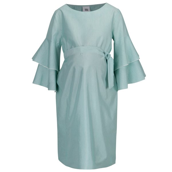Rochie alb & verde cu model in dungi pentru femei insarcinate – Mama.licious Nelia