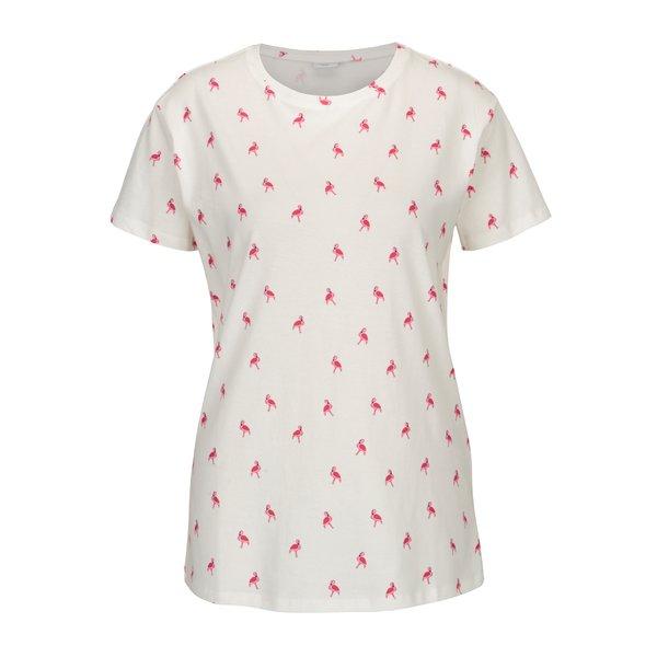 Tricou crem cu print flamingo - Jacqueline de Yong Perfect