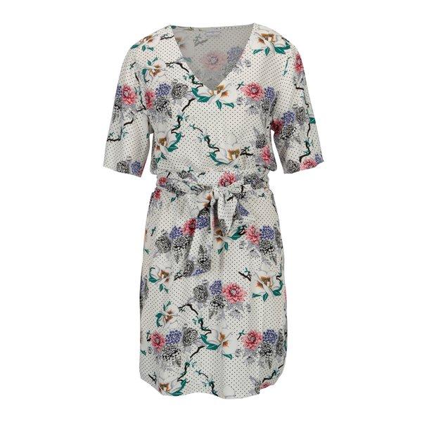 Rochie alba cu buline si print floral – Jacqueline de Yong Ann