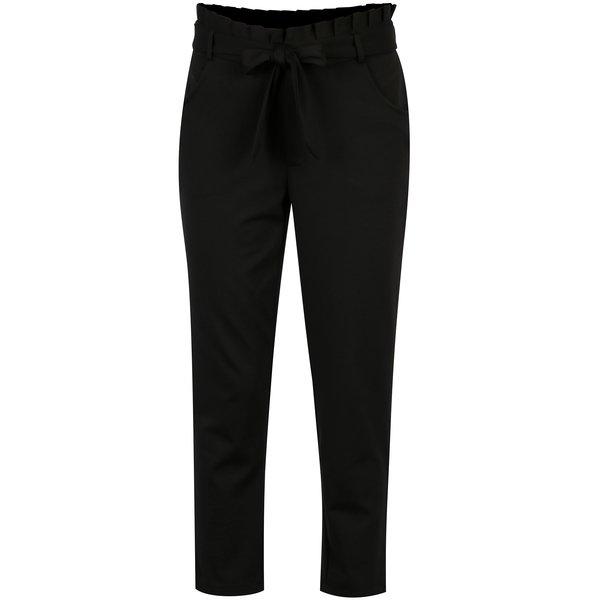 Pantaloni negri cu talie inalta si funda - ONLY Oliva
