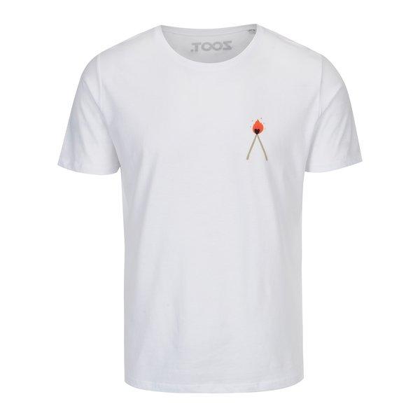Tricou alb unisex cu print - ZOOT Original Love Flames