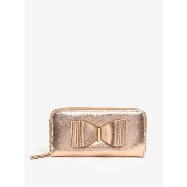 Portofel mare auriu rose cu funda decorativa - LYDC