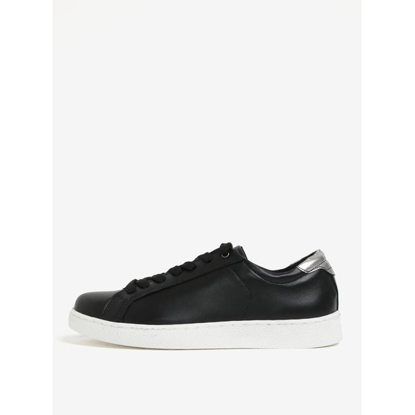 Pantofi sport negri din piele naturala cu talpa alba Tamaris