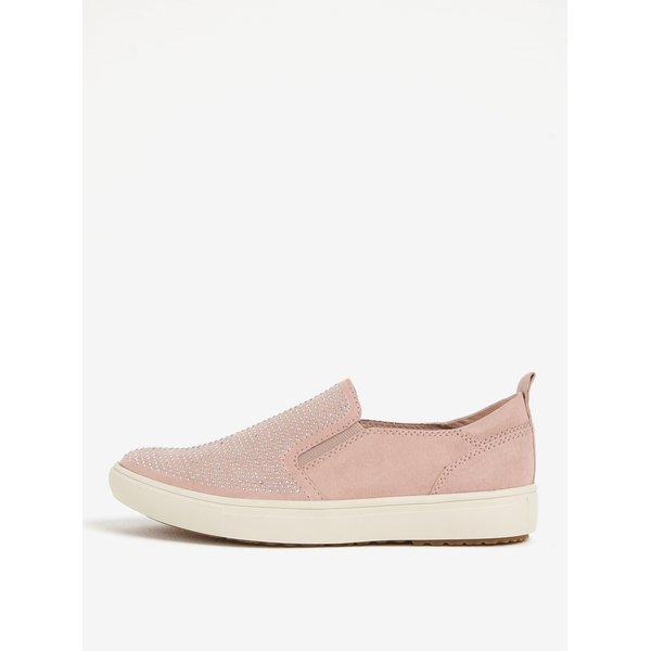 Pantofi roz slip on cu strasuri Tamaris