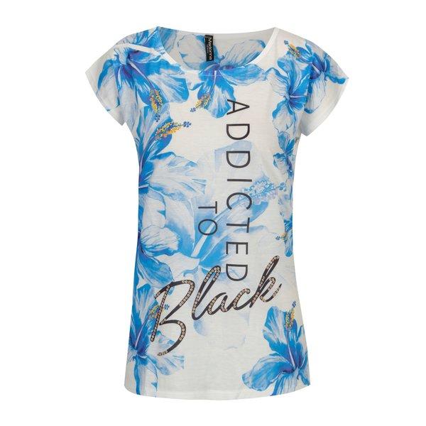 Tricou cu mesaj si print floral crem & albastru - Madonna