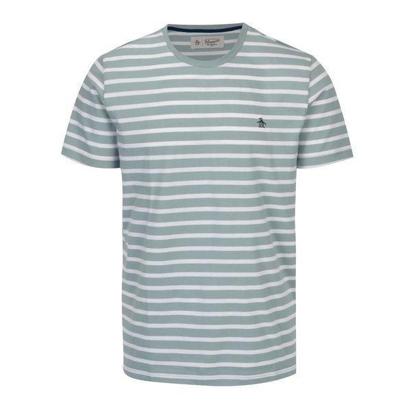 Tricou cu dungi verde albastrui & alb si logo brodat – Original Penguin