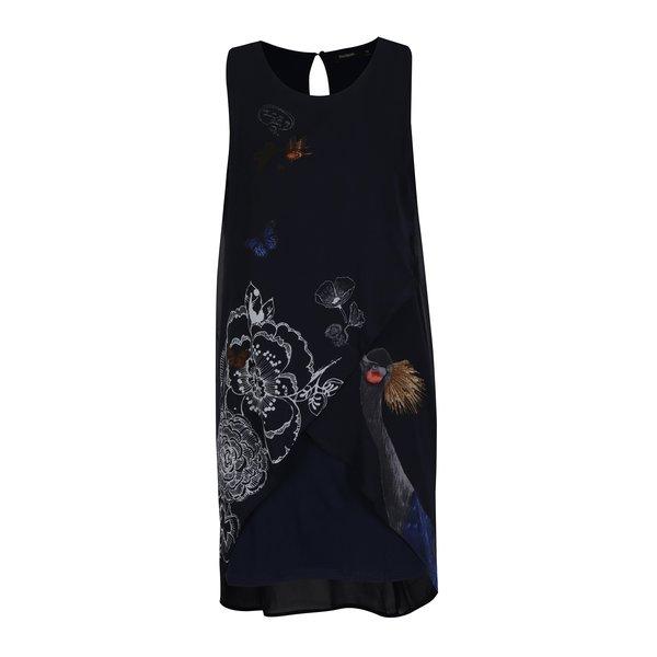 Rochie albastra cu print fara maneci - Desigual Natan