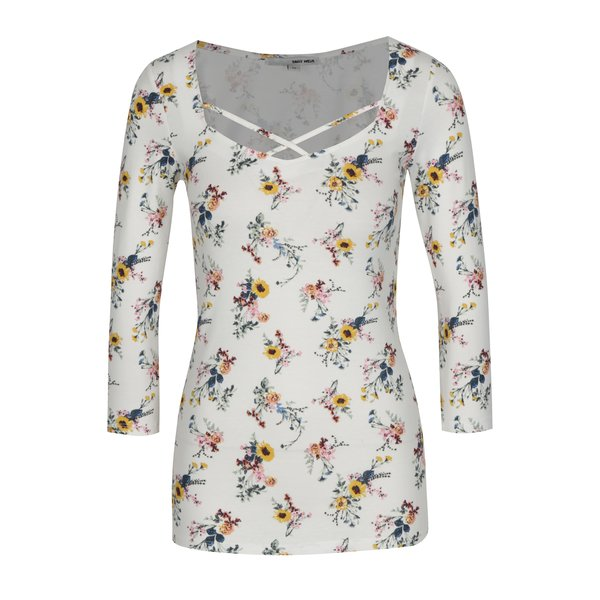 Bluza alba cu print floral si barete incrucisate - TALLY WEiJL