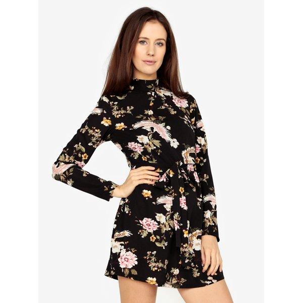Rochie scurta neagra cu maneci lungi si print floral - MISSGUIDED