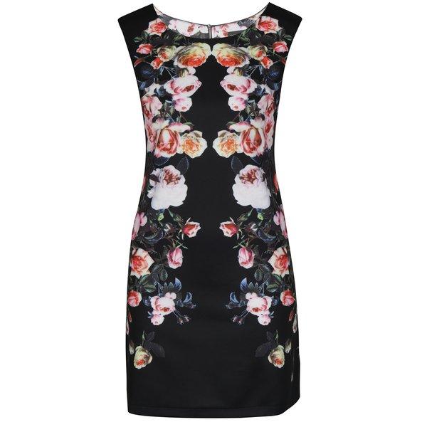 Rochie scurta neagra cu print floral Mela London