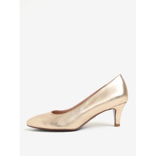 Pantofi aurii din piele cu toc conic Tamaris