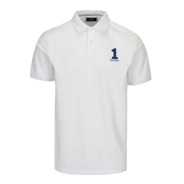 Tricou polo alb cu broderie - Hackett London New Classic