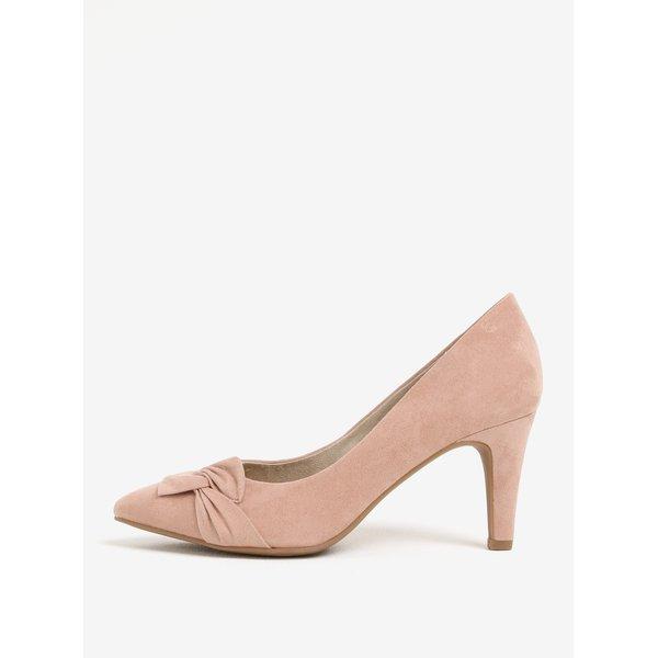 Pantofi roz cu toc mic si aspect de piele intoarsa s.Oliver
