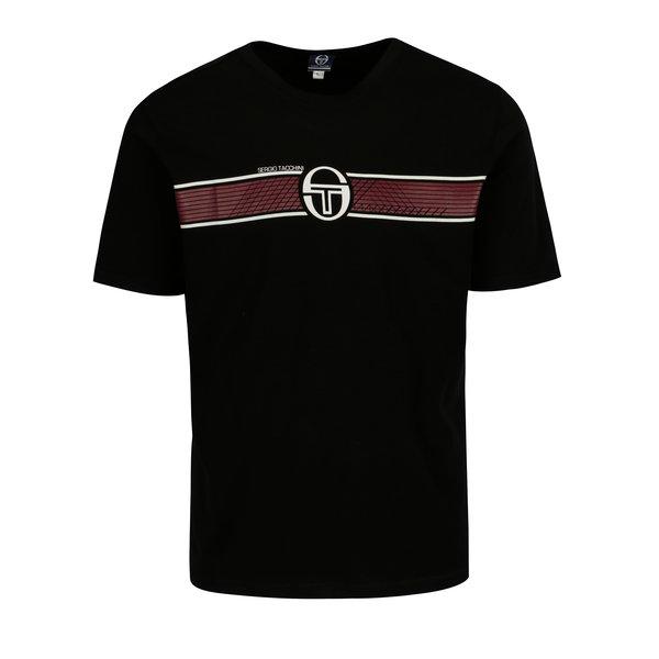 Tricou negru cu print frontal Sergio Tacchini Laufen