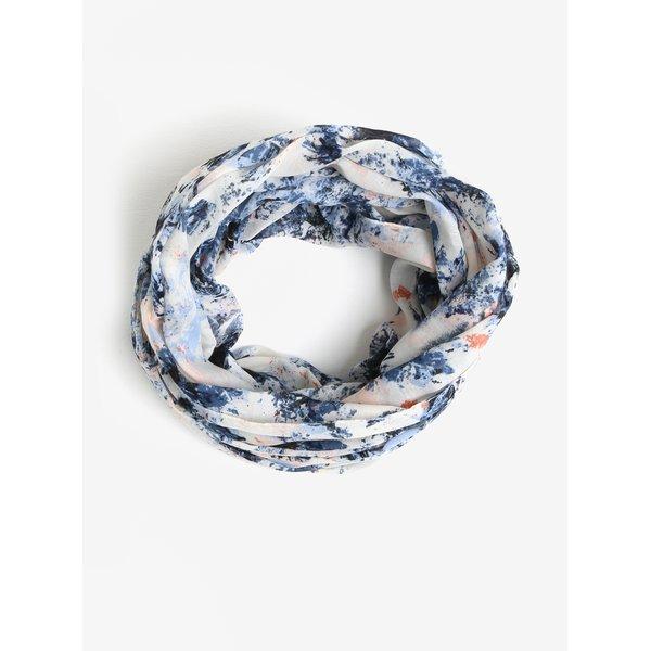 Esarfa albastru & crem cu print - Pieces Minna