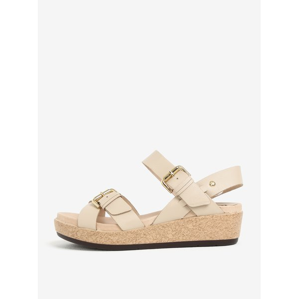 Sandale bej din piele cu catarama - Pikolinos Mykonos