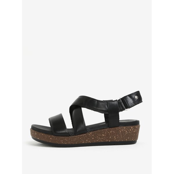 Sandale negre din piele cu catarama - Pikolinos Mykonos