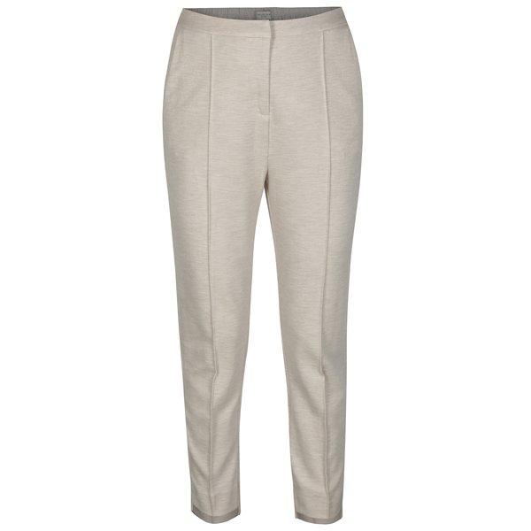 Pantaloni cropped bej melanj cu talie inalta Selected Femme Sue