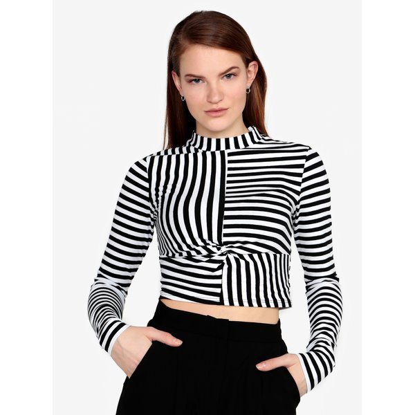 Crop top cu dungi si nod decorativ Miss Selfridge