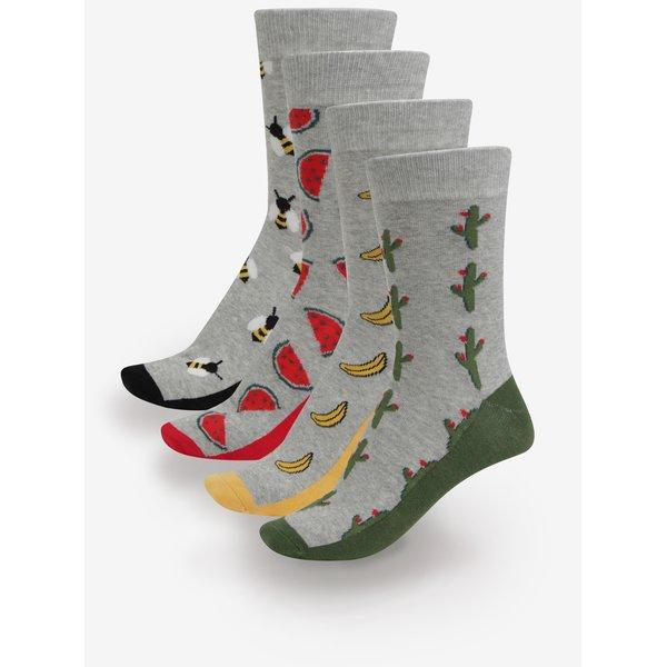 Set de 4 perechi de sosete gri cu modele multicolore - Jack & Jones Fun