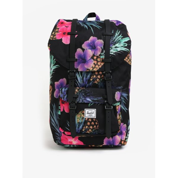 Rucsac negru cu print floral Herschel Little America 25 l