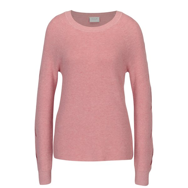 Pulover roz cu decupaj la umeri VILA Myntani