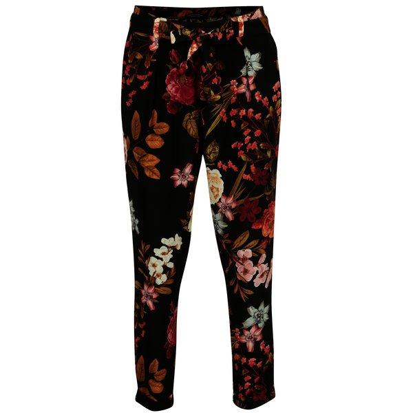 Pantaloni negri cu print floral Dorothy Perkins