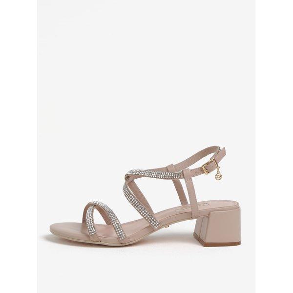Sandale roz prafuit din piele cu pietre decorative Dune London Masiey