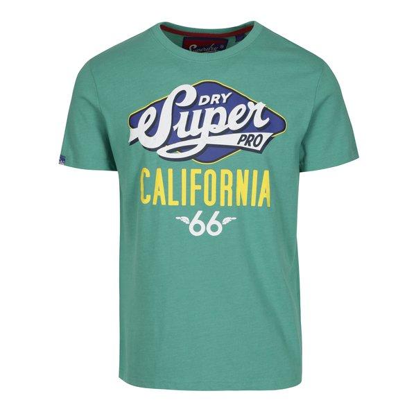 Tricou verde cu print text Superdry Classic