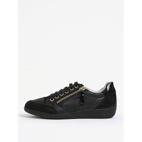 Pantofi sport negri din piele cu detaliu lacuit pentru femei Geox Myria